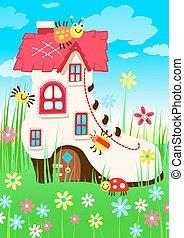 maison, fleurs, bogues, chaussure