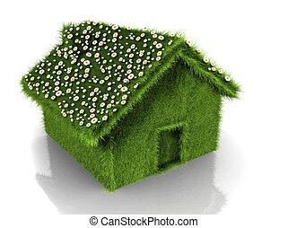 maison, fleurs