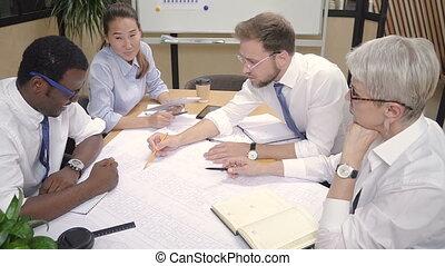 maison, fonctionnement, multi-ethnique, blueprint., ensemble, bâtiment, équipe