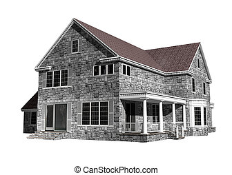 maison, fond blanc, illustration, 3d