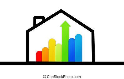 maison, fond, contre, graphique, efficace, énergie, blanc