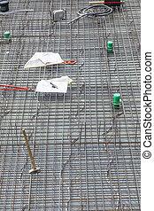 maison, fondation, construction, béton