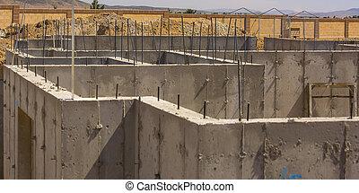 maison, fondation, construction, béton, sous