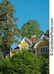 maison, forêt, jaune