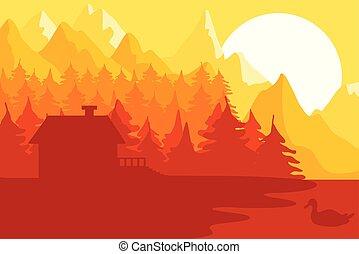 maison, forêt, montagnes