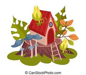 maison, forêt, vecteur, blanc, illustration, fairies., arrière-plan.