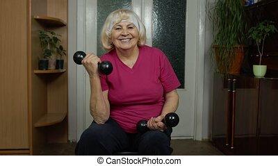 maison, formation, haltère, haltérophilie, exercisme, mûrir, séance entraînement, grand-mère, femme aînée