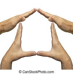 maison, forme, fait, homme, mains