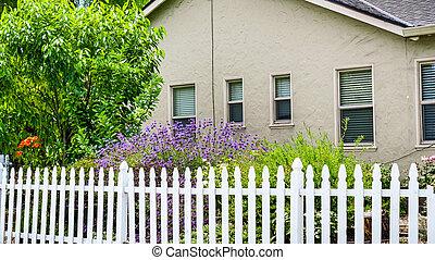 maison, francisco, piquet, montagne, baie, san, vieux, secteur, fleurir, vue, californie, jardin, barrière
