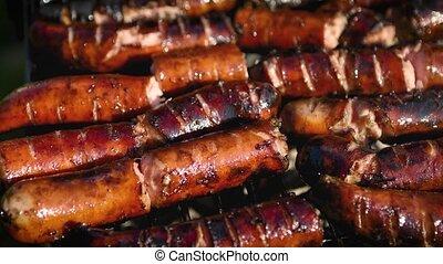 maison, frit, saucisses, délicieux, barbecue