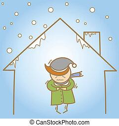 maison, froid, caractère, dessin animé, homme