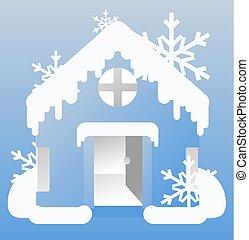 maison, froid, hiver, dessin animé
