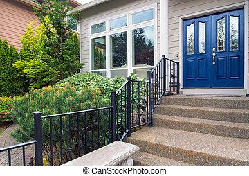 maison, frontyard, jardin, entrée