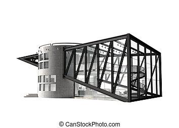 maison, futuriste, luxe, illustration, 3d