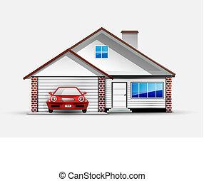 maison, garage, voiture rouge, sports