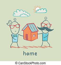 maison, gens, garder