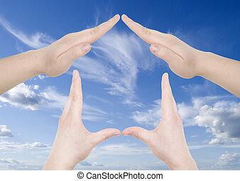 maison, geste, main