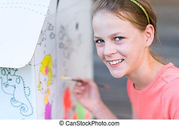 maison, girl, carton, peinture, jeune