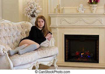 maison, girl, cheminée, jeune, ignites