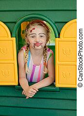 maison, girl, coloré, facepainting