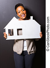 maison, girl, papier, tenue, africaine