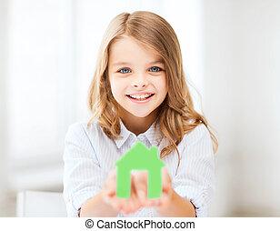 maison, girl, papier, vert, tenue