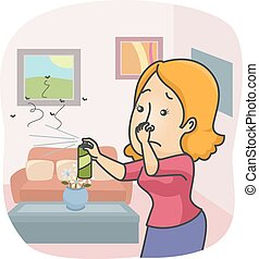 maison, girl, pulvérisation, insecticide