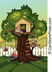 maison, gosses, arbre, jouer