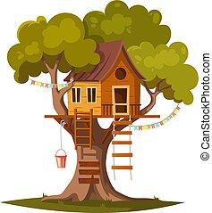 maison, gosses, arbre