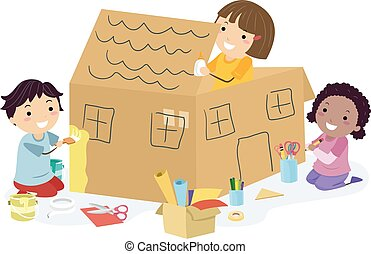 maison, gosses, boîte, métier, grand, stickman