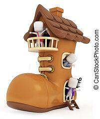 maison, gosses, chaussure