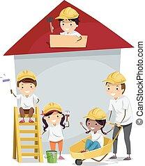maison, gosses, stickman, construire