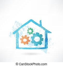 maison, grand, grunge, mécanisme, icône