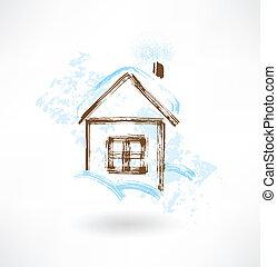 maison, grunge, hiver, icône