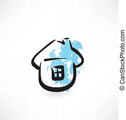 maison, grunge, icône