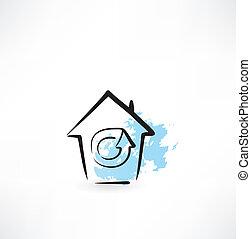 maison, grunge, mise jour, icône