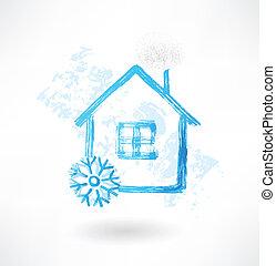 maison, grunge, neige, icône