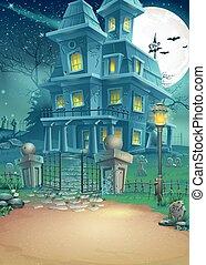 maison, hanté, éclairé par la lune, illustration, nuit