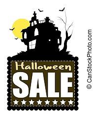 maison hantée, halloween, bannière