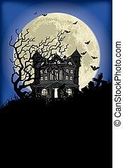 maison hantée, halloween, fond
