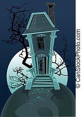 maison hantée, sorcière halloween
