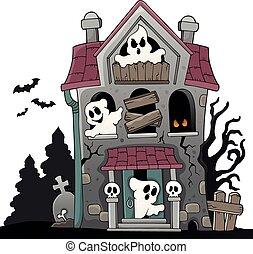maison hantée, thème, 5, fantômes