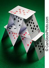 maison, haut, tissu, vert, cartes, fin, jouer