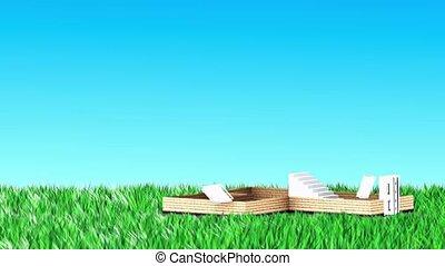 maison, herbe, construit