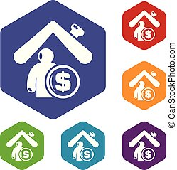 maison, hexahedron, vecteur, assurance, icônes