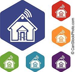maison, hexahedron, vecteur, icônes