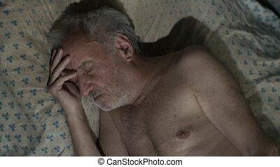 maison, homme, mendiant, dormir
