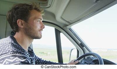 maison, homme, -, voiture, mobile, motorhome, jeune, roadtrip, gens, conduite