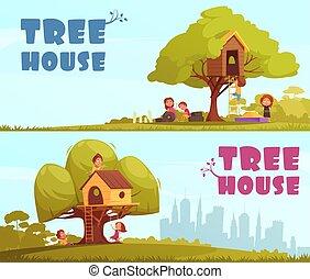 maison, horizontal, arbre, enfants, bannières