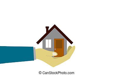 maison, humain, tenant main